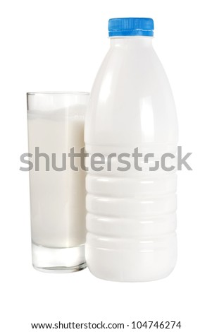 Glass of milk and bottle isolated on white background