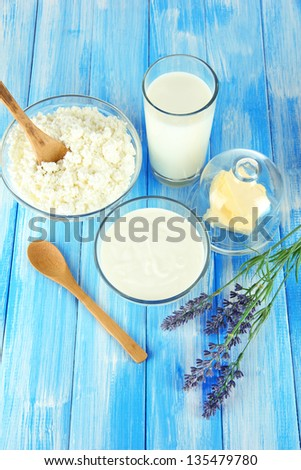 Glass of milk and cheese on  light background