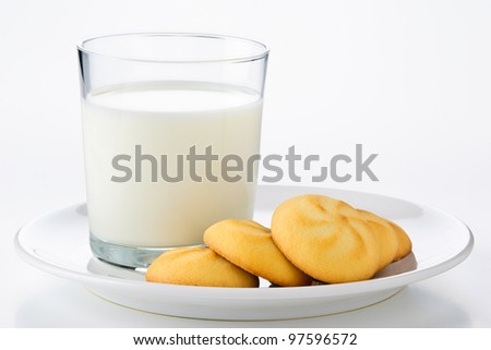 glass of milk and cookies on a plate