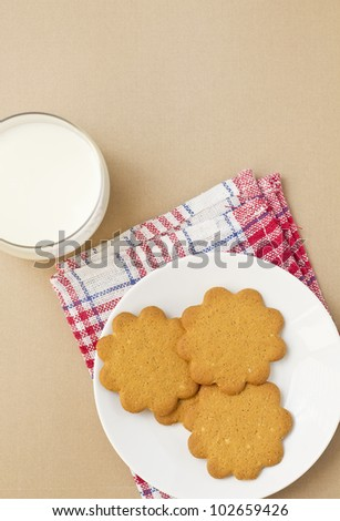 Glass of milk and cookies on a table