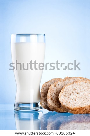 Glass of milk and Three Bread Slices on blue background