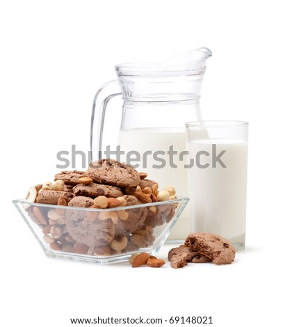 glass of milk,  chocolate chip cookies and almonds nuts on white background