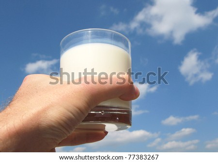 Glass of milk in the hand