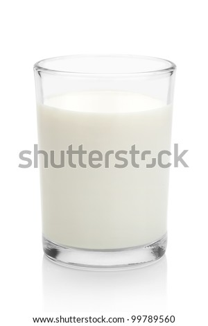 Glass of milk, isolated on the white background, clipping path included.
