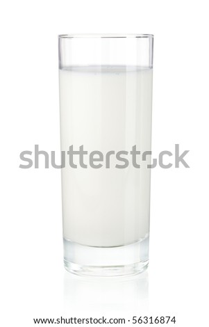 Glass of milk. Isolated on white