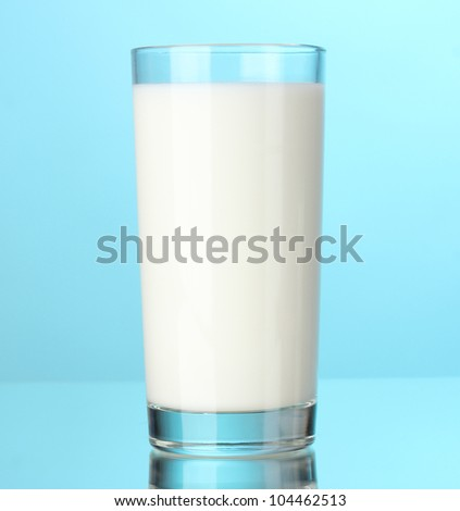 Glass of milk on blue