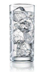 Glass of mineral water with ice. With clipping path