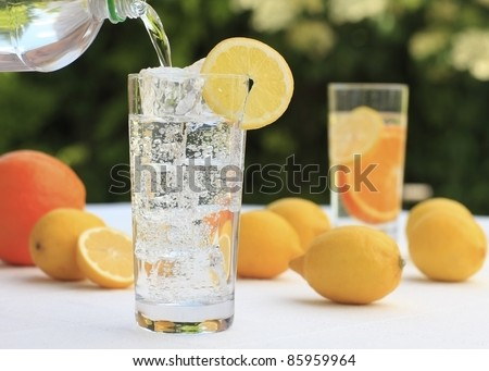 Glass of mineral water with lemon and ice cube