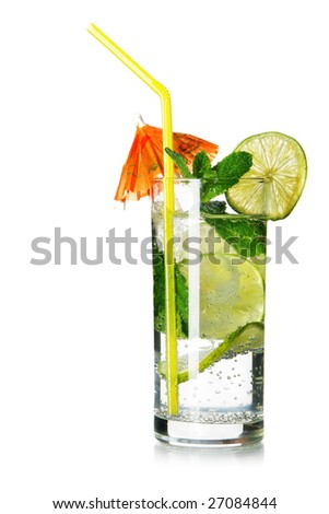 Glass of mojito isolated over white background