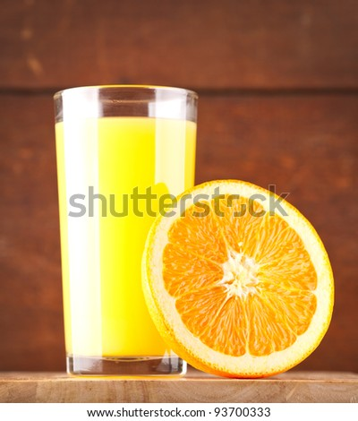 glass of Orange juice and orange