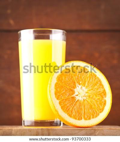 glass of Orange juice and orange