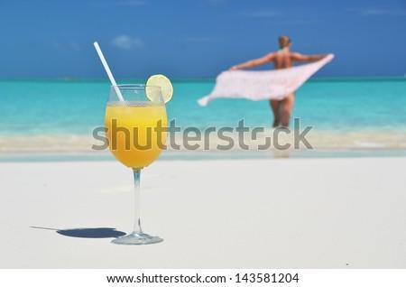 Glass of orange juice. Exuma, Bahamas