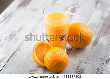 Shutterstock Glass of orange juice standing on the table with oranges