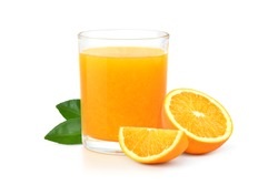 Glass of 100% Orange juice with pulp and sliced fruits isolate on white background.