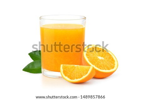 Photo of  Glass of 100% Orange juice with sacs  and sliced fruits isolate on white background.