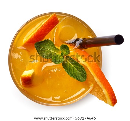 Glass of orange soda drink isolated on white background. From top view