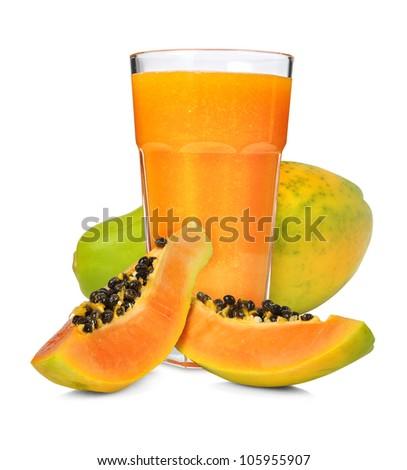 Glass of papaya smoothie isolated on white