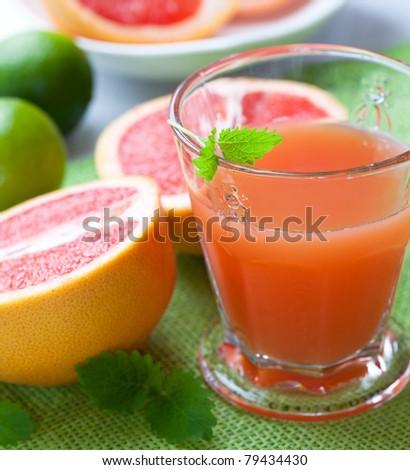 Glass of pink grapefruit juice