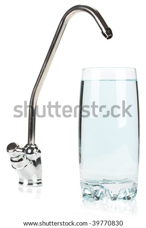 Glass of pure water and the filter for water treating on a white background.
