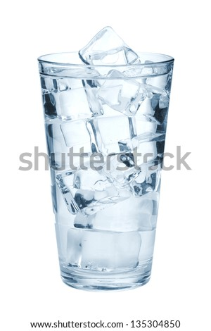 Glass of pure water with ice cubes. Isolated on white background