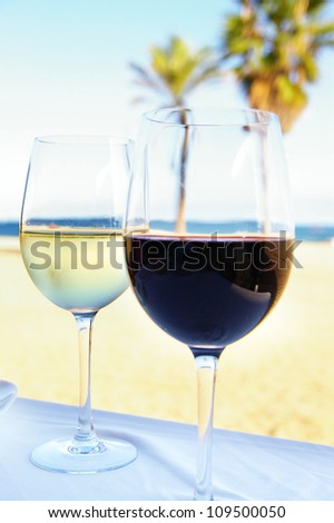 glass of red and white wine in a tropical setting