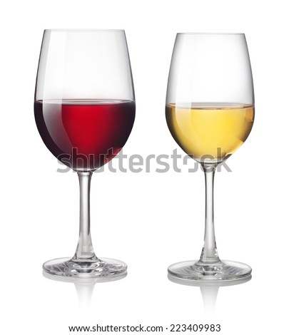 Glass of red and white wine on a white background #223409983