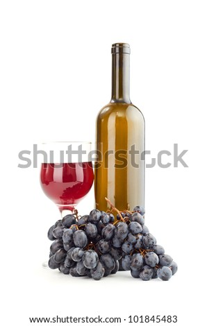 Glass of red wine and a bottle isolated over white background