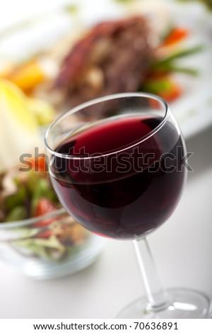 glass of red wine and dinner