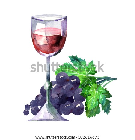 Glass of Red Wine and Grape