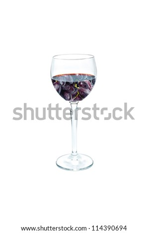 Glass of red wine ,Concept bunch grapes in wine isolated on white