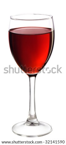 Glass Of Red Wine. Full glass of red wine, isolated on white background.
