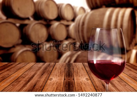 glass of red wine in winery #1492240877