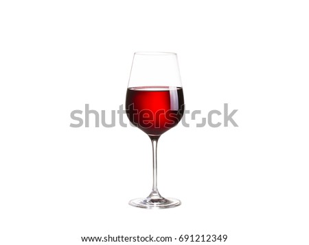 Glass of red wine, isolated on white background #691212349