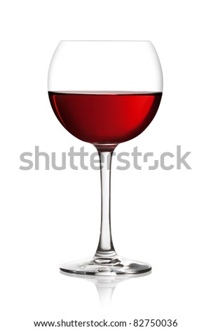 Glass of red wine on a white background. The file includes a clipping path.