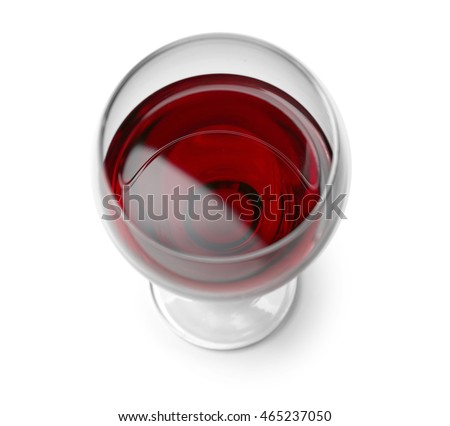 Glass of red wine on white background #465237050