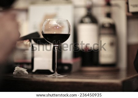 Glass of red wine , tasting concept