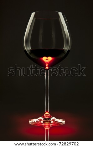 Glass of red wine with a heart inside