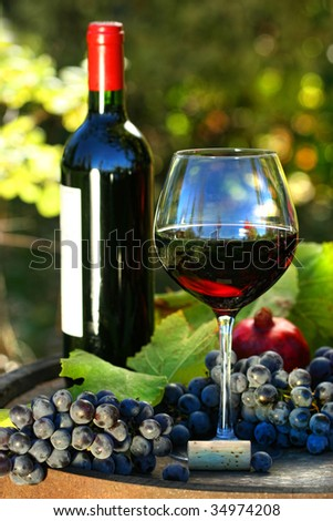 Glass of red wine with bottle and grapes against colorful foliage