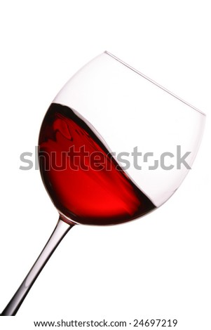 Glass of red wine with wave isolated over white background