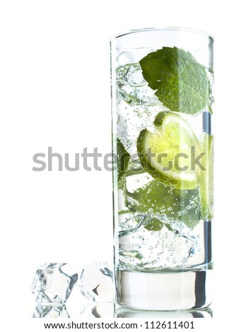 Glass of refreshing cocktail with lime and mint