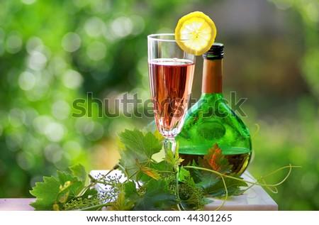 Glass of rose wine.