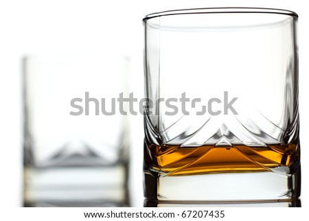 Glass of scotch whiskey and empty glass on background
