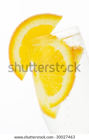 Glass of soda with orange slices #30027463