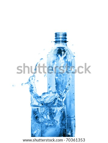 Glass of splashing water and plastic bottle isolated on white background with clipping path