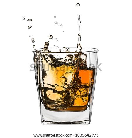 Glass of splashing whiskey with ice isolated on white #1035642973