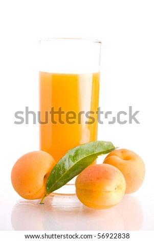 Glass of tasty and healthy homemade apricot juice.