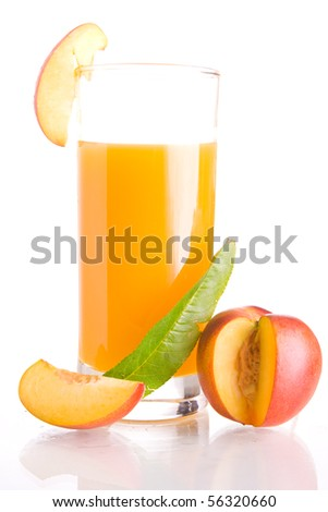 Glass of tasty and healthy homemade nectarine juice.