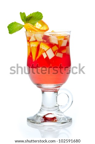 glass of tea with fresh fruits and syrup