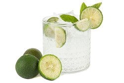 Glass of transparent drink with lime, soda, gin