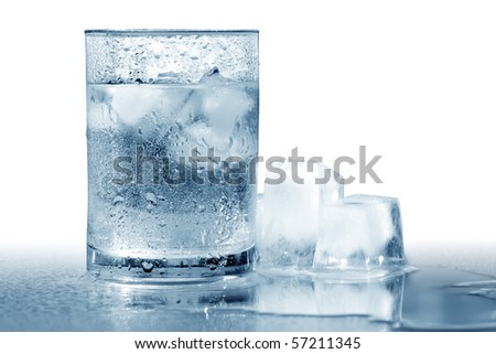 Glass of very cold water with ice cubes. Isolated with clipping path #57211345
